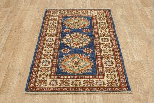 100% Wool Blue Afghan Kaynak Rug AKA006F88 90x61 Handknotted in Afghanistan with a 5mm pile