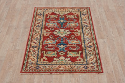 100% Wool Red Afghan Kaynak Rug AKA011F52 1.28 x .78 Handknotted in Afghanistan with a 6mm pile