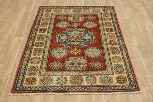 100% Wool Red Afghan Kaynak Rug AKA011F52 121x87 Handknotted in Afghanistan with a 5mm pile