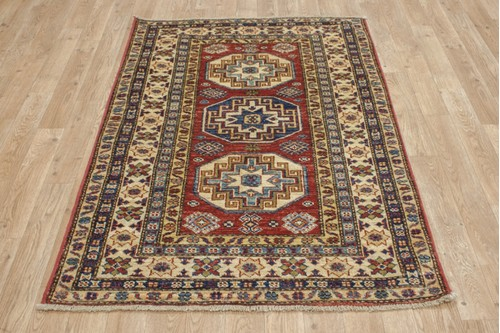 100% Wool Red Afghan Kaynak Rug AKA011F52 136x89 Handknotted in Afghanistan with a 5mm pile