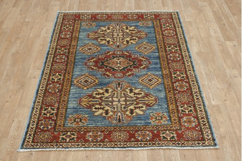 100% Wool Blue Afghan Kaynak Rug AKA013F46 147x105 Handknotted in Afghanistan with a 5mm pile