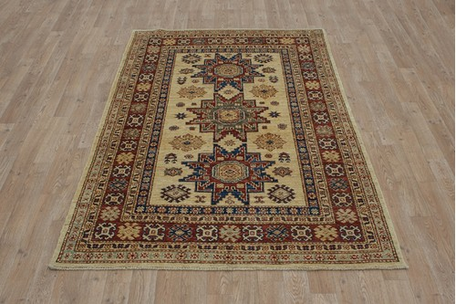 100% Wool Cream Afghan Kaynak Rug AKA018F44 187 x 119 Handknotted in Afghanistan with a 5mm pile