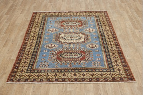 100% Wool Blue Afghan Kaynak Rug AKA018F46 171x125 Handknotted in Afghanistan with a 5mm pile