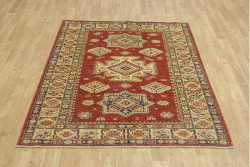 100% Wool Red Afghan Kaynak Rug AKA018F52 171x122 Handknotted in Afghanistan with a 5mm pile