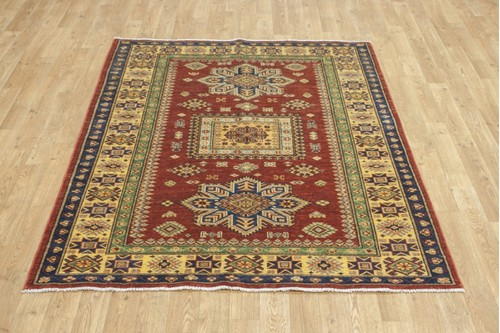 100% Wool Red Afghan Kaynak Rug AKA018F52 173x126 Handknotted in Afghanistan with a 5mm pile
