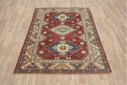 100% Wool Red Afghan Kaynak Rug AKA018F52 1.82 x 1.15 Handknotted in Afghanistan with a 6mm pile