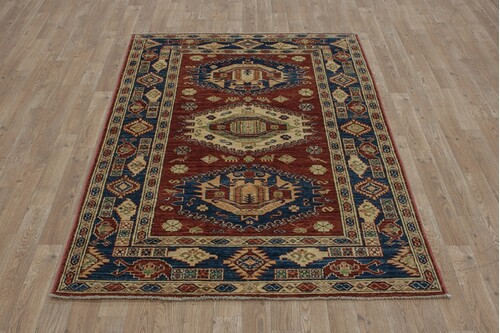 100% Wool Red Afghan Kaynak Rug AKA018F52 1.84 x 1.19 Handknotted in Afghanistan with a 5mm pile
