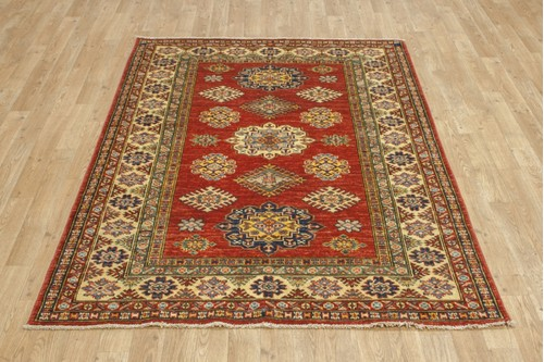 100% Wool Rust Afghan Kaynak Rug AKA018F55 170x120 Handknotted in Afghanistan with a 5mm pile