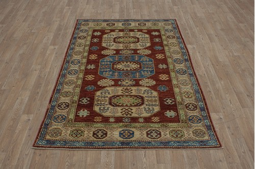 100% Wool Rust Afghan Kaynak Rug AKA018F55 1.92 x 1.15 Handknotted in Afghanistan with a 5mm pile