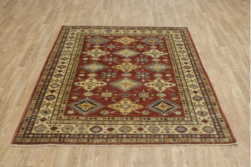 100% Wool Red Afghan Kaynak Rug AKA019F52 196x152 Handknotted in Afghanistan with a 5mm pile
