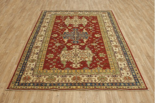 100% Wool Red Afghan Kaynak Rug AKA022F52 253x189 Handknotted in Afghanistan with a 5mm pile