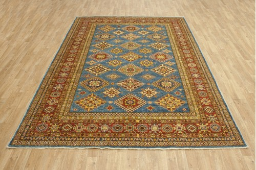 100% Wool Blue Afghan Kaynak Rug AKA024F46 293x213 Handknotted in Afghanistan with a 5mm pile