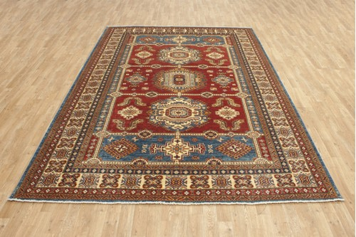 100% Wool Red Afghan Kaynak Rug AKA024F52 311x215 Handknotted in Afghanistan with a 5mm pile