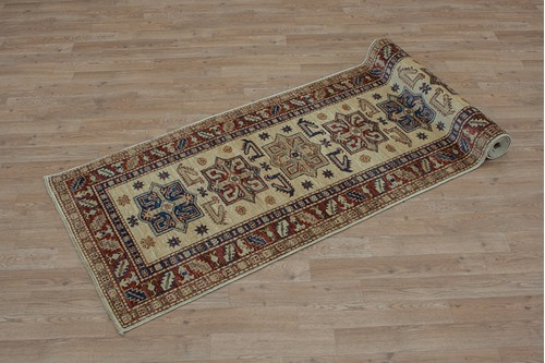100% Wool Cream Afghan Kaynak Rug AKA045F44 2.82 x .74 Handknotted in Afghanistan with a 5mm pile