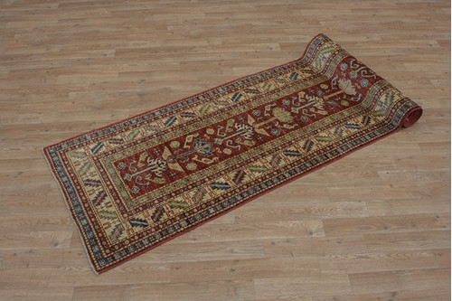 100% Wool Red Afghan Kaynak Rug AKA047F52 305x75 Handknotted in Afghanistan with a 5mm pile