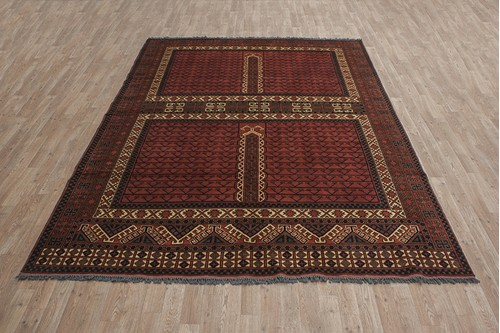 100% Wool Multi Afghan Kargai Rug AKG023000 2.92 x 2.08 Handknotted in Afghanistan with a 5mm pile