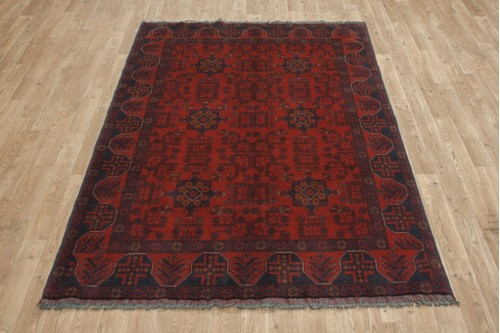 100% Wool Red Afghan Kundoz Rug AKU018000 196 x 126 Handknotted in Afghanistan with a 8mm pile