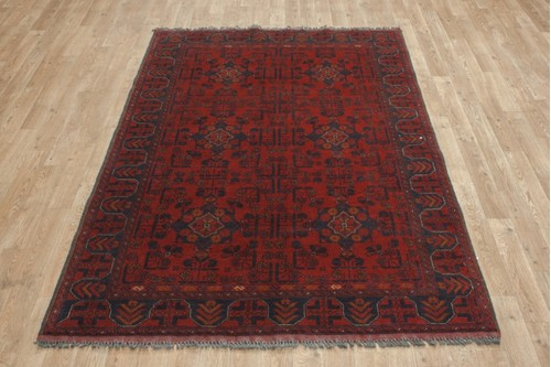 100% Wool Red Afghan Kundoz Rug AKU018000 197 x 128 Handknotted in Afghanistan with a 8mm pile