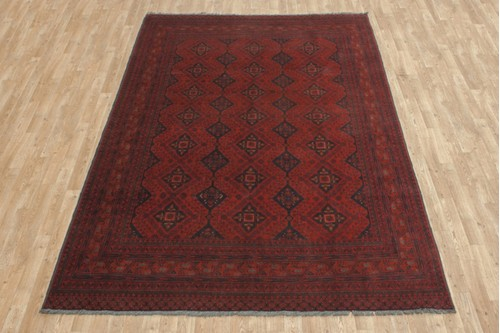 100% Wool Red Afghan Kundoz Rug AKU023000 300 x 196 Handknotted in Afghanistan with a 8mm pile