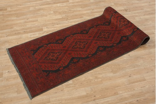 100% Wool Red Afghan Kundoz Rug AKU047000 295 x 80 Handknotted in Afghanistan with a 8mm pile