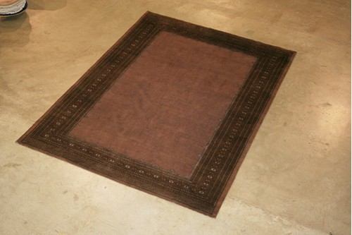 100% Wool Brown Fine Bokhara Plain Rug BOF030060 Handknotted in Pakistan with a 10mm pile