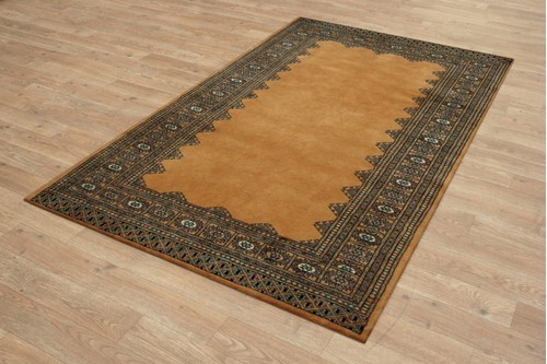 100% Wool Gold Fine Pakistan Bokhara Rug Design Handknotted in Pakistan with a 10mm pile