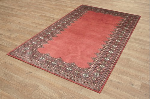100% Wool Rose Fine Pakistan Bokhara Rug Design Handknotted in Pakistan with a 10mm pile