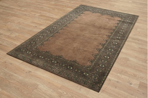 100% Wool Brown Fine Pakistan Bokhara Rug Design Handknotted in Pakistan with a 10mm pile