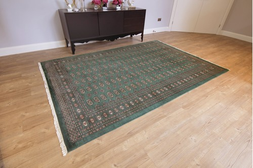 100% Wool Green Fine Pakistan Bokhara Rug Design Handknotted in Pakistan with a 10mm pile