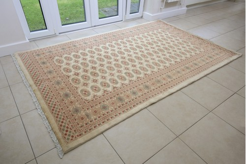 100% Wool Cream Fine Pakistan Bokhara Rug Design Handknotted in Pakistan with a 10mm pile