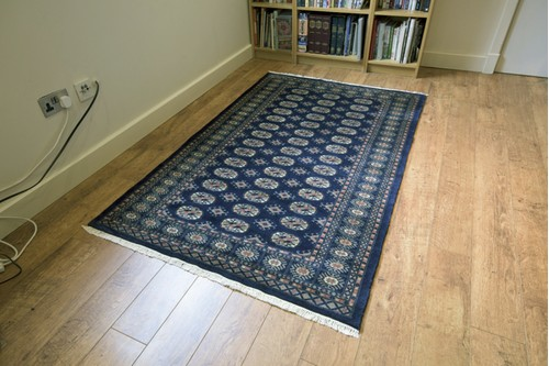 100% Wool Blue Fine Pakistan Bokhara Rug Design Handknotted in Pakistan with a 10mm pile
