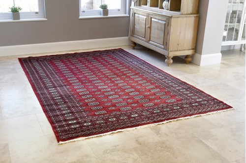 100% Wool Red Fine Pakistan Bokhara Rug Design Handknotted in Pakistan with a 10mm pile
