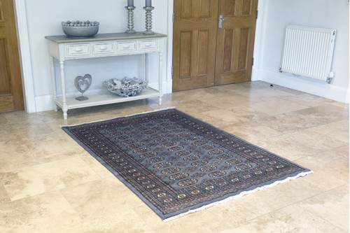 100% Wool Grey Fine Pakistan Bokhara Rug Design Handknotted in Pakistan with a 10mm pile
