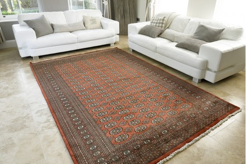 100% Wool Rust Fine Pakistan Bokhara Rug Design Handknotted in Pakistan with a 10mm pile