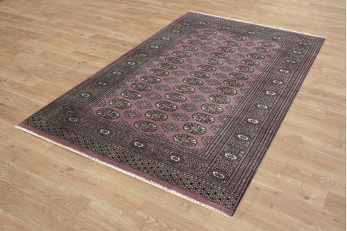 100% Wool Purple Fine Pakistan Bokhara Rug Design Handknotted in Pakistan with a 10mm pile