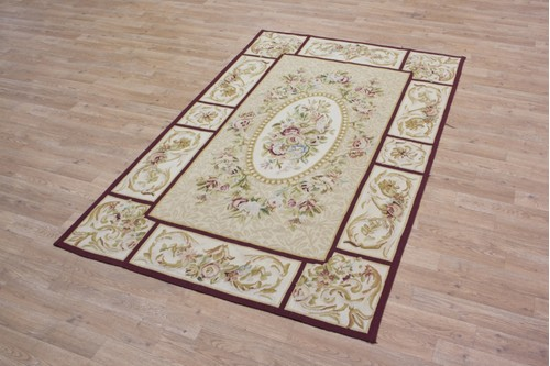 100% Wool Gold Aubusson Rugs and Carpets CAU302 Handmade in China with a 5mm pile