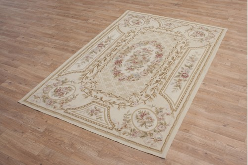 100% Wool Gold Aubusson Rugs and Carpets CAU308 Handmade in China with a 5mm pile