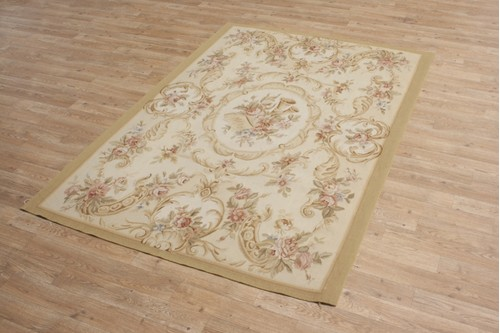 100% Wool Gold Aubusson Rugs and Carpets CAU850 Handmade in China with a 5mm pile