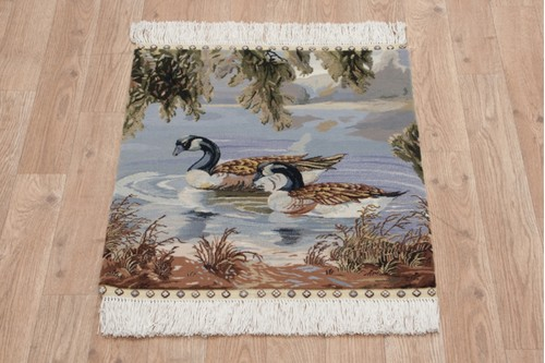 100% Silk Multi Zhenping Silk Picture Rug CFS003PIC 56x50 Handknotted in China with a 3mm pile