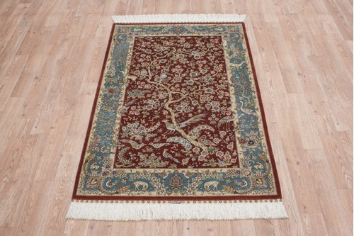 100% Silk Red 300 Line Zhenping Rug CFS009000 124x78 Handknotted in China with a 3mm pile