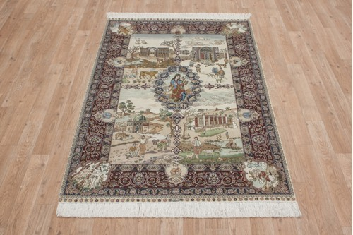 100% Silk Multi 300 Line Zhenping Rug CFS012000 138x94 Handknotted in China with a 3mm pile