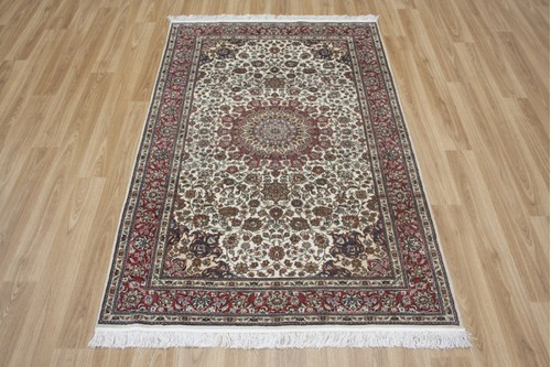 100% Silk Cream 300 Line Zhenping Rug CFS013CHE 151x93 Handknotted in China with a 3mm pile