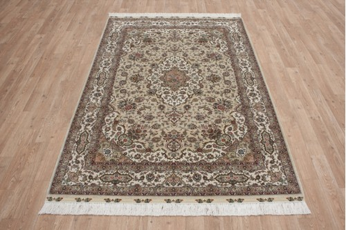 100% Silk Beige 300 Line Zhenping Rug CFS018000 183x123 Handknotted in China with a 3mm pile
