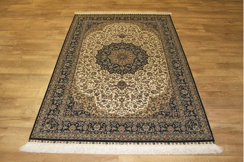 100% Silk Cream 300 Line Zhenping Rug CFS018000 188 x 124 Handknotted in China with a 3mm pile