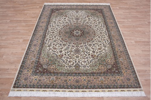 100% Silk Cream 300 Line Zhenping Rug CFS021000 242x170 Handknotted in China with a 3mm pile