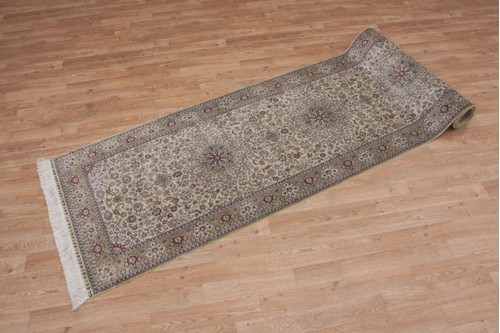 100% Silk Beige 300 Line Zhenping Rug CFS048000 366x79 Handknotted in China with a 3mm pile