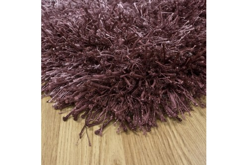 50% Polyester / 50% Viscose Purple Shaggy Rug Design Handmade in China with a 40mm pile