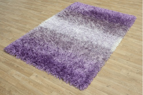 55% Polymide / 45% Viscose Pile Purple Shaggy Design CLP271 Handmade in India with a 50mm pile