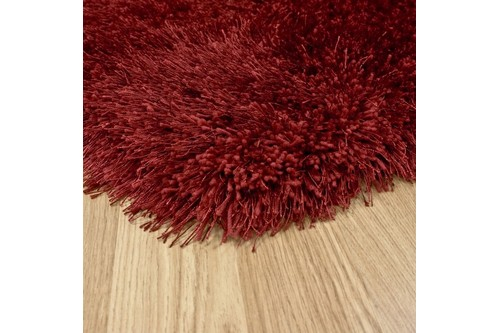 100% Polyester Red Shaggy Rug Design Handmade in China with a 45mm pile