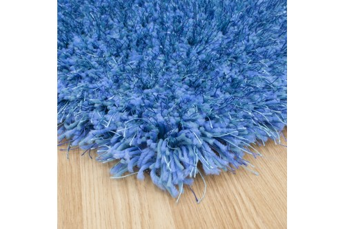 100% Polyester Blue Shaggy Rug Design Handmade in China with a 45mm pile